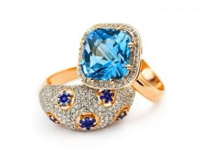 Safir- & diamantring