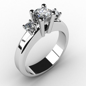 Diamantring i vitt guld