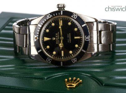 En Rolex Submariner såld för rekordpriset £50,000 hos auktionsfirman Chiswick