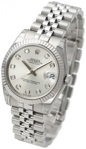 Rolex Datejust Midsize Damklocka 178274-0018 Silverfärgad/Stål Ø31