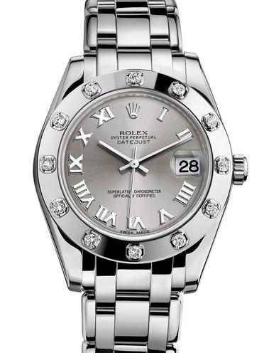 Rolex Pearlmaster 34 Damklocka 81319-0019 Silverfärgad/18 karat vitt