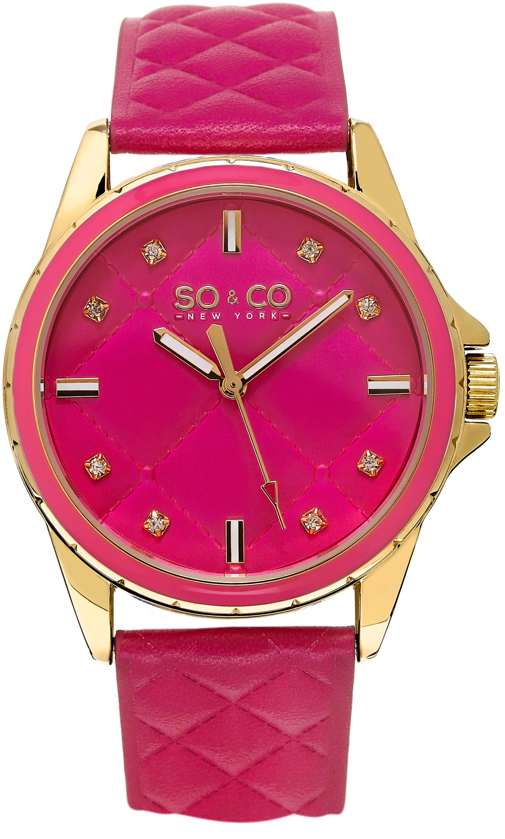 So & Co New York SoHo Damklocka 5201.2 Rosa/Läder Ø38 mm