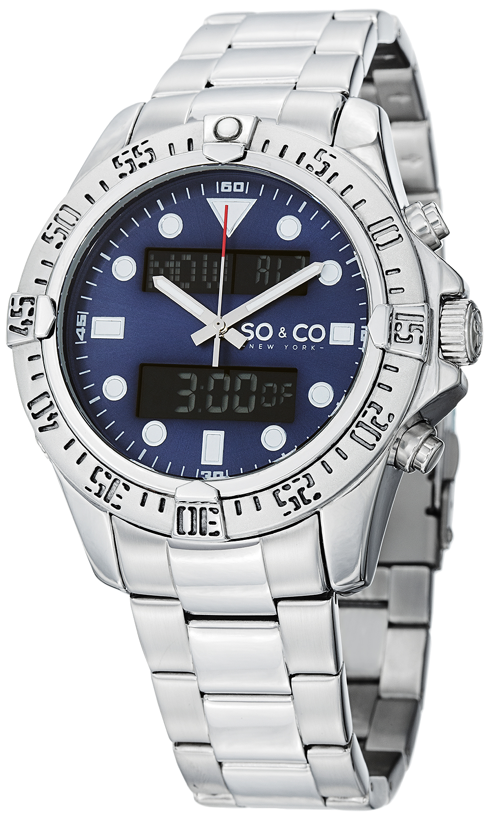 So & Co New York Yacht Timer Herrklocka 5017.2 Blå/Stål Ø44 mm