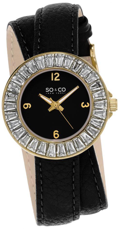 So & Co New York SoHo Damklocka 5070.1 Svart/Läder Ø34 mm