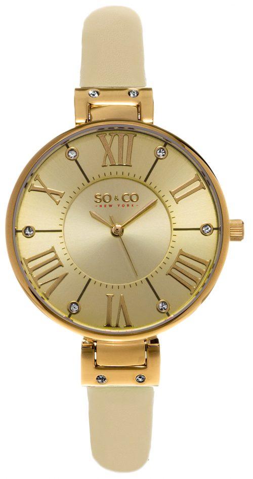So & Co New York Studio Damklocka 5091.1 Champagnefärgad/Läder