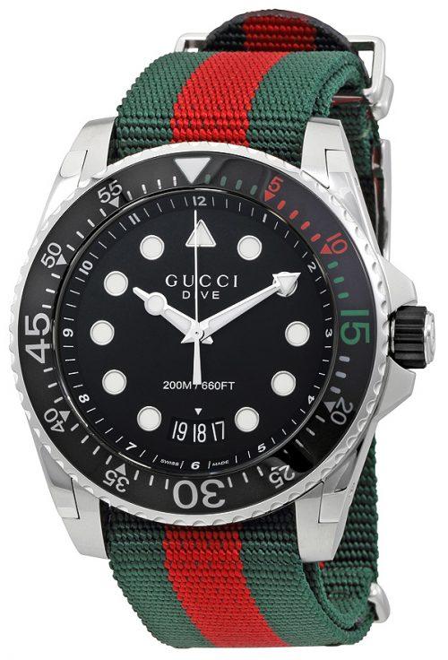 Gucci Dive Herrklocka YA136209 Svart/Textil Ø45 mm