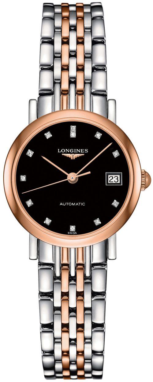 Longines Elegant Damklocka L4.309.5.57.7 Svart/18 karat roséguld