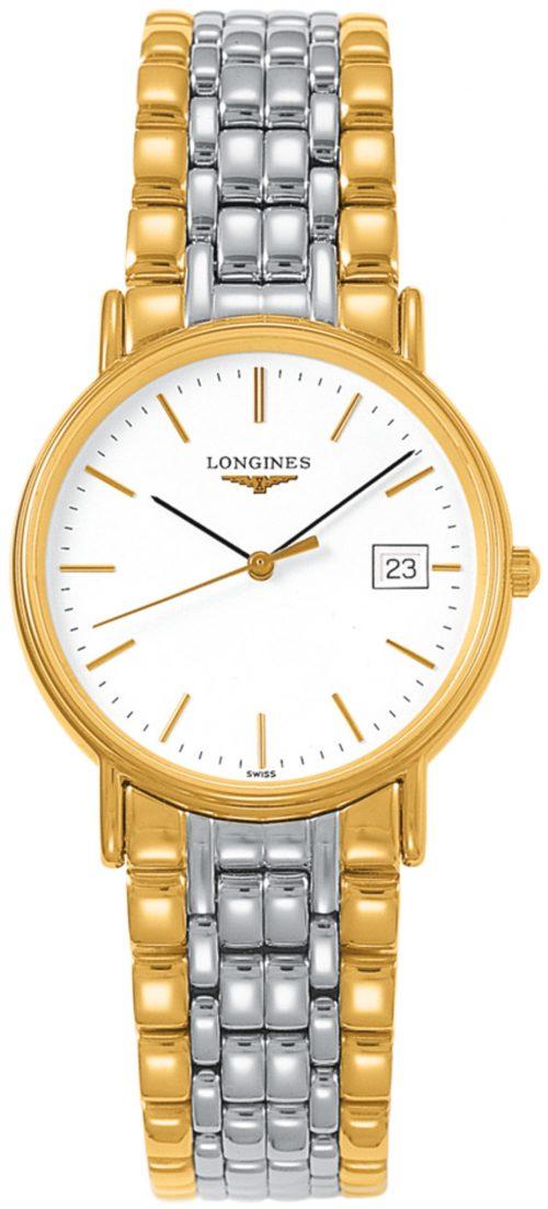 Longines Presences Herrklocka L4.819.2.12.7 Vit/Gulguldtonat stål