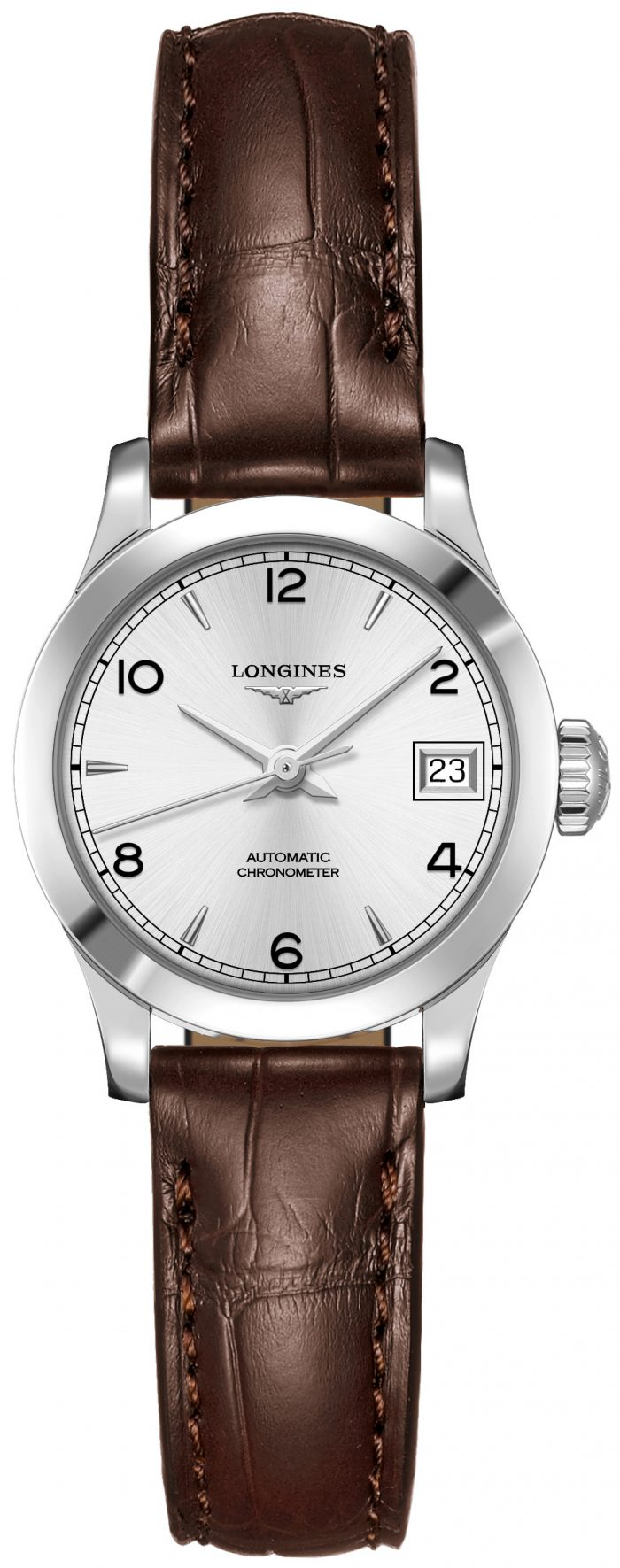 Longines Record Damklocka L2.320.4.76.2 Silverfärgad/Läder Ø26 mm