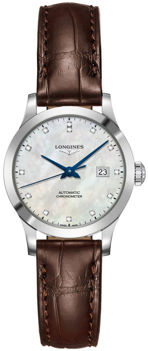 Longines Record Damklocka L2.321.4.87.2 Vit/Läder Ø30 mm