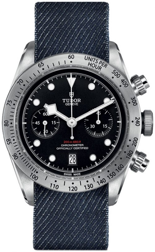 Tudor Black Bay Chrono Herrklocka 79350-0003 Svart/Textil Ø41 mm