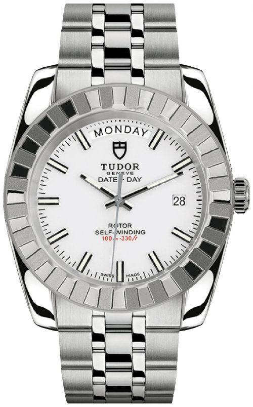 Tudor Classic Date Day Herrklocka 23010-0020 Vit/Stål Ø41 mm