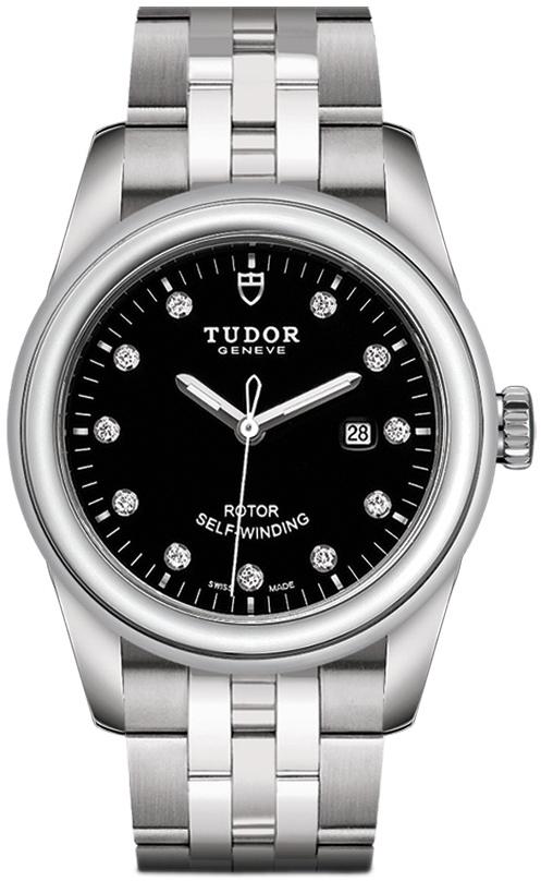 Tudor Glamour Date Damklocka 53000-0001 Svart/Stål Ø31 mm