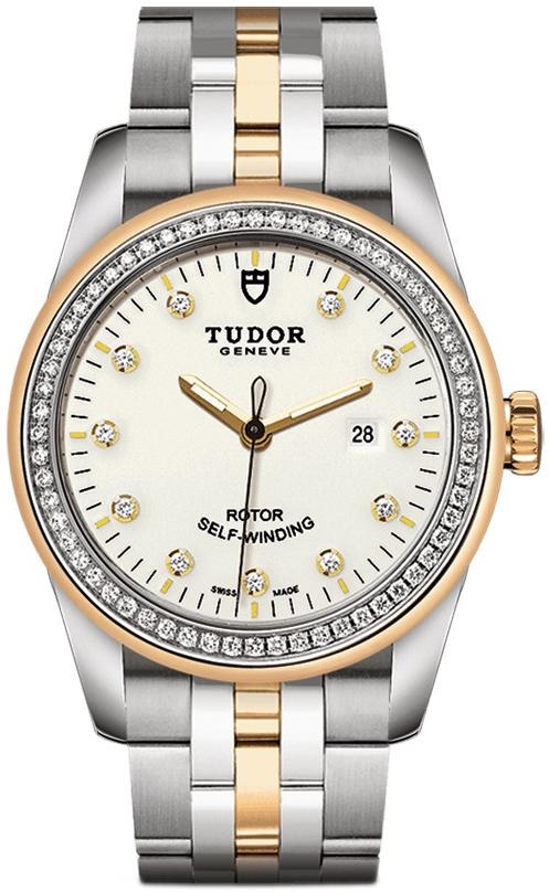 Tudor Glamour Date Damklocka 53023-0066 Vit/18 karat gult guld Ø31 mm