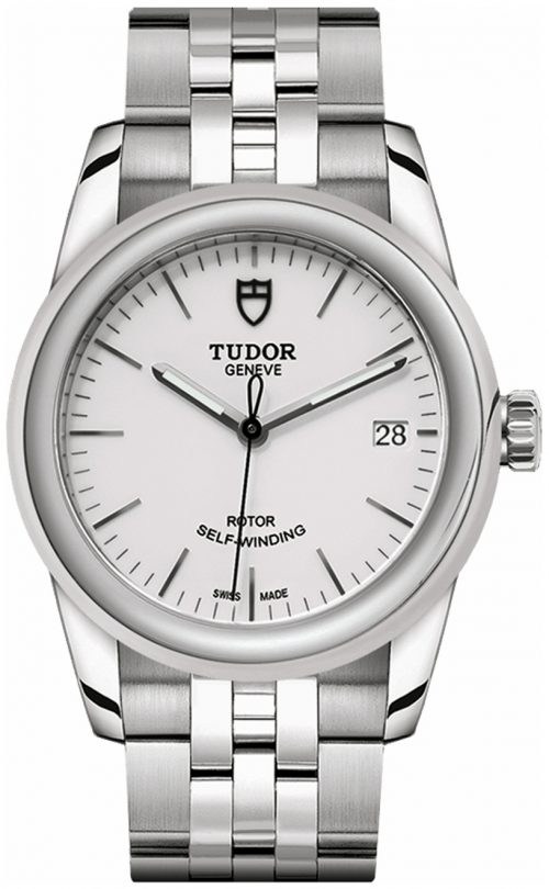 Tudor Glamour Date Damklocka 55000-0001 Vit/Stål Ø36 mm