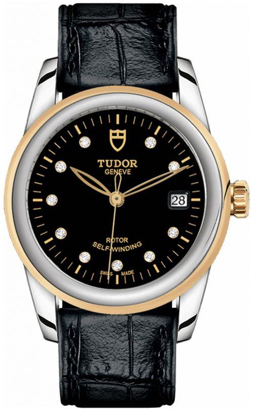 Tudor Glamour Date Damklocka 55003-0037 Svart/Läder Ø36 mm