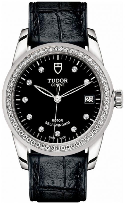 Tudor Glamour Date Damklocka 55020-0053 Svart/Läder Ø36 mm