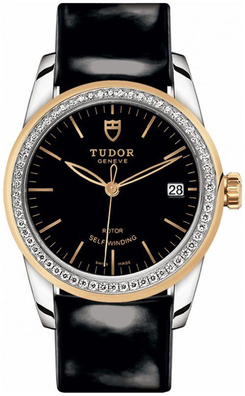 Tudor Glamour Date Damklocka 55023-0053 Svart/Läder Ø36 mm