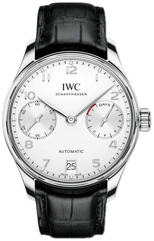 IWC Portuguese Herrklocka IW500712 Silverfärgad/Läder Ø42.3 mm