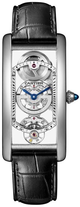 Cartier Tank Cintree Herrklocka WHTA0009 Skelettskuren/Läder