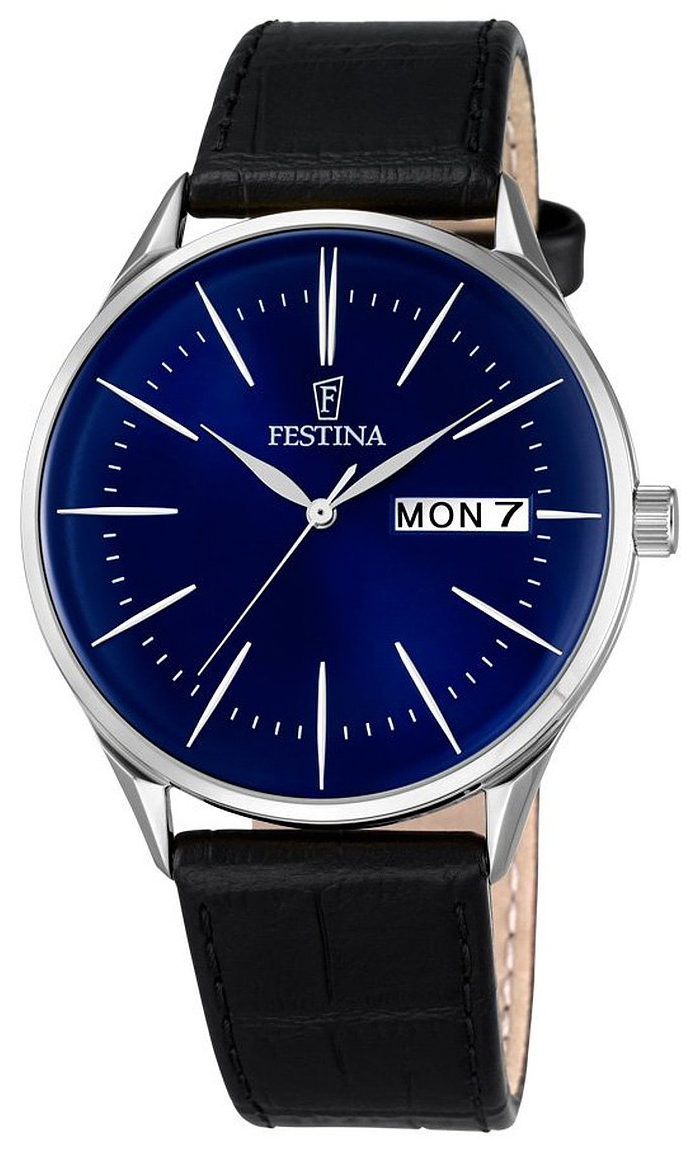 Festina Dress Herrklocka F6837-3 Blå/Läder Ø42 mm