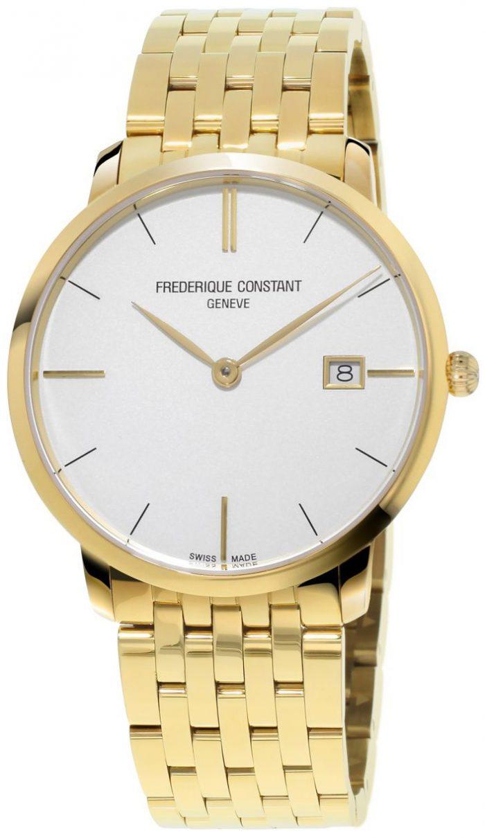 Frederique Constant Slimline Herrklocka FC-220V5S5B Vit/Gulguldtonat