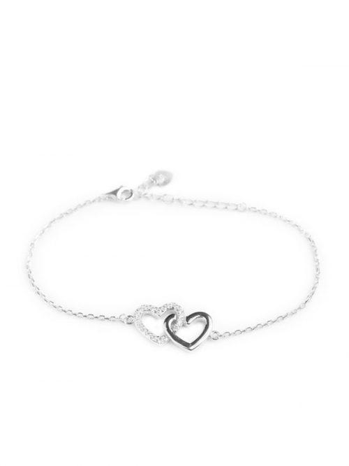 Klockiasmycket Silver Armband Double Heart BJMQ0011