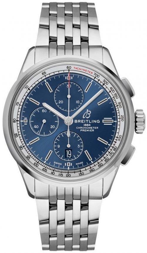Breitling Premier Chronograph 42 Herrklocka A13315351C1A1 Blå/Stål