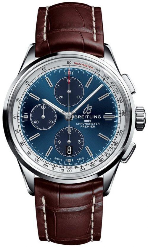 Breitling Premier Chronograph 42 Herrklocka A13315351C1P2 Blå/Läder