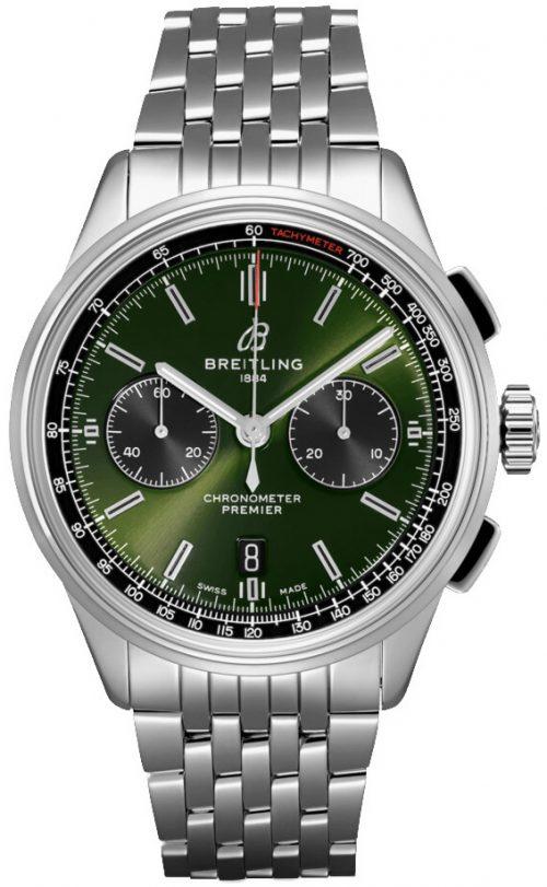 Breitling Premier Chronograph 42 Herrklocka AB0118A11L1A1 Grön/Stål
