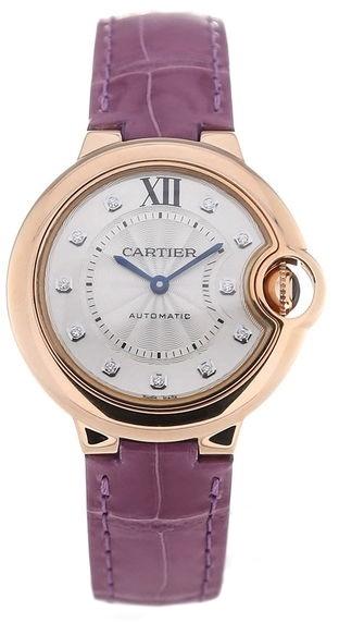 Cartier Ballon Blue Damklocka WE902063 Silverfärgad/Läder Ø33 mm