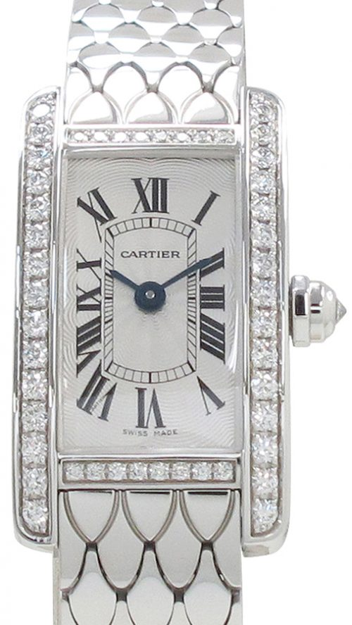 Cartier Tank Americaine Damklocka WB710013 Silverfärgad/18 karat