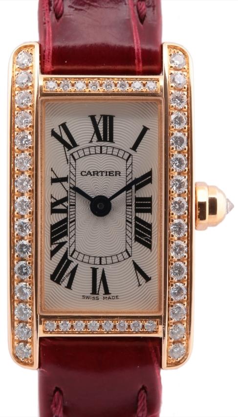 Cartier Tank Americaine Damklocka WB710014 Silverfärgad/Läder