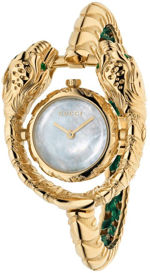 Gucci 99999 Damklocka YA149505 Vit/18 karat gult guld Ø23 mm