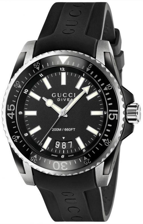 Gucci Dive Herrklocka YA136204 Svart/Gummi Ø45 mm