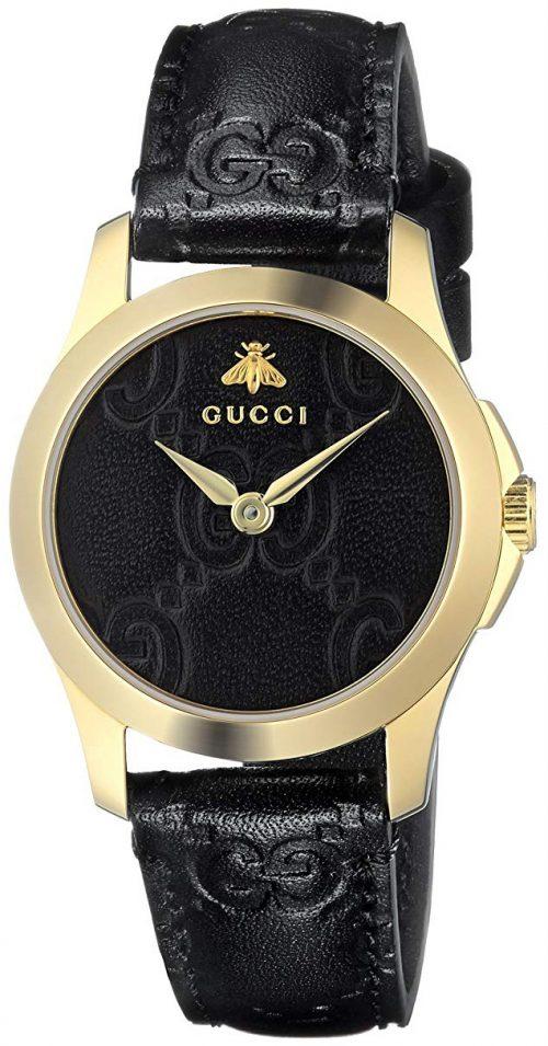 Gucci G-Timeless Damklocka YA126581 Svart/Läder Ø27 mm