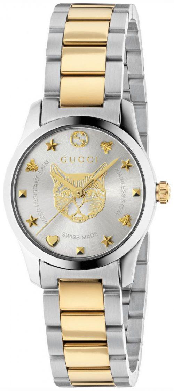 Gucci G-Timeless Damklocka YA126596 Silverfärgad/Gulguldtonat stål