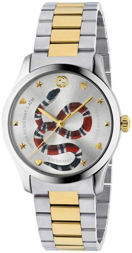 Gucci G-Timeless YA1264075 Silverfärgad/Gulguldtonat stål Ø38 mm