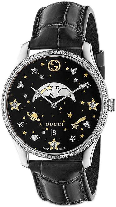 Gucci G-Timeless YA1264103 Svart/Läder Ø36 mm