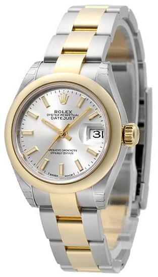 Rolex Lady-Datejust 28 Damklocka 279161-0020 Silverfärgad/18 karat
