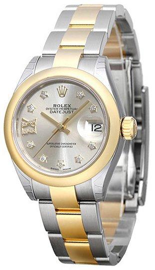 Rolex Lady-Datejust 28 Damklocka 279163-0004 Silverfärgad/18 karat
