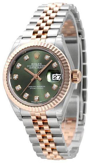 Rolex Lady-Datejust 28 Damklocka 279171-0007 Grön/18 karat roséguld