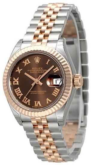 Rolex Lady-Datejust 28 Damklocka 279171-0009 Brun/18 karat roséguld