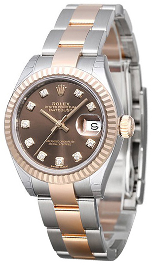 Rolex Lady-Datejust 28 Damklocka 279171-0012 Brun/18 karat roséguld