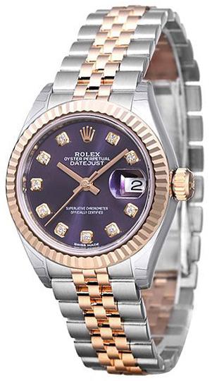 Rolex Lady-Datejust 28 Damklocka 279171-0015 Lila/18 karat roséguld