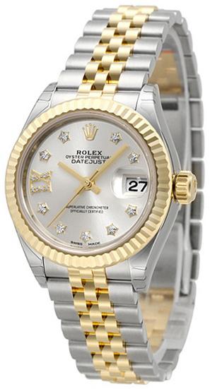 Rolex Lady-Datejust 28 Damklocka 279173-0003 Silverfärgad/18 karat