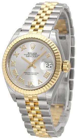 Rolex Lady-Datejust 28 Damklocka 279173-0005 Silverfärgad/18 karat