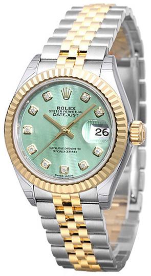 Rolex Lady-Datejust 28 Damklocka 279173-0015 Grön/18 karat gult guld
