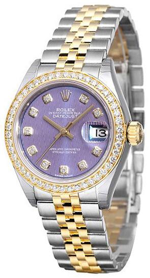 Rolex Lady-Datejust 28 Damklocka 279383RBR-0015 Lila/18 karat gult