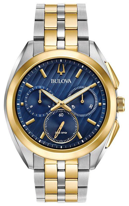 Bulova Bracelet Herrklocka 98A159 Blå/Gulguldtonat stål Ø45 mm